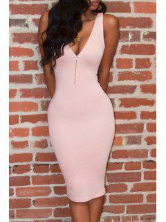 Pink Plunging Neck Sleeveless Bodycon Dress - Pink Xl