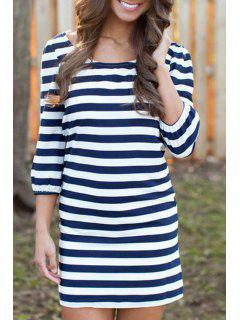 Jewel Neck Stripe 3/4 Sleeve Dress - Purplish Blue M
