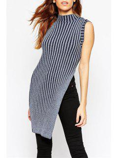 Striped Turtle Neck Sleeveless Sweater - Gray