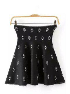 Eyes Pattern Elastic Knitted Skirt - Black