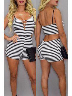 Striped Cami Bodycon Romper - White And Black L
