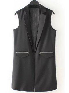 Lapel Zipper Pocket Sleeveless Waistcoat - Black L