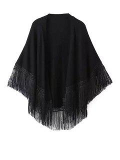 Solid Color Tassel Splicing Cardigan - Black L