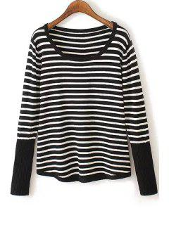 White Black Stripe Back Buttons Sweater - White And Black