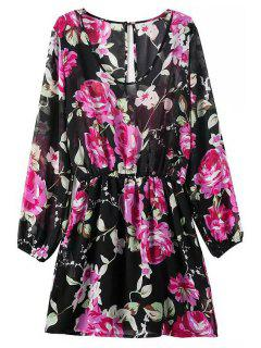 Floral Print Scoop Neck Long Sleeve Dress - Black M