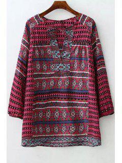 Argyle Stripe Printed Long Sleeve Shirt - Red L