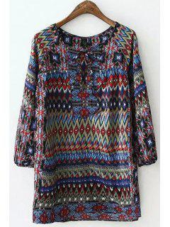 Colorful Argyle Printed Long Sleeve Shirt - Xl