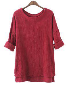Solid Color High-Low Hem Linen T-Shirt - Deep Red