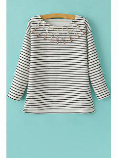 Stripe Artificial Gem Embellished Long Sleeve T-Shirt - White And Black M