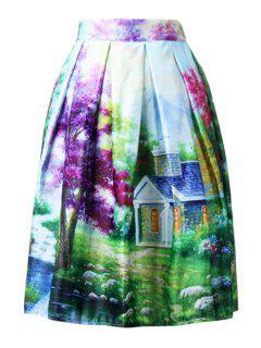 Scenery Print Colorful Midi Skirt - Green