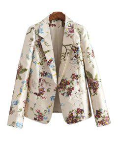 Lapel Floral Print Long Sleeve Blazer - Off-white L