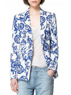 Vintage Print Long Sleeve Blazer - Blue And White 2xl
