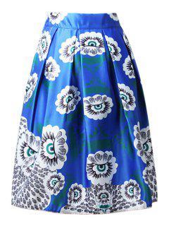 High-Waisted A-Line Printed Midi Skirt - Blue