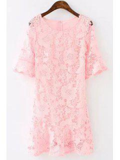 Lace Floral Openwork Half Sleeve Dress - Pink S