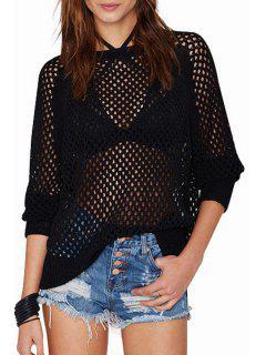 Back See-Through Long Sleeve Sweater - Black 2xl