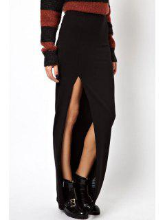 Solid Color High Low Long Skirt - Black S