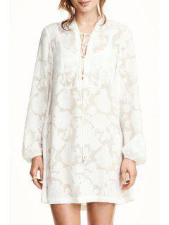 White Lace Plunging Neck Long Sleeve Dress - White M
