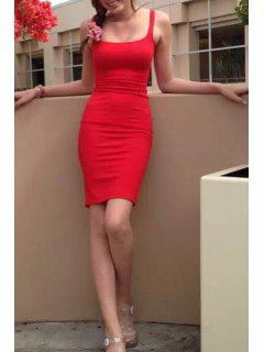 Straps Solid Color Back Slit Sleeveless Dress - Red S