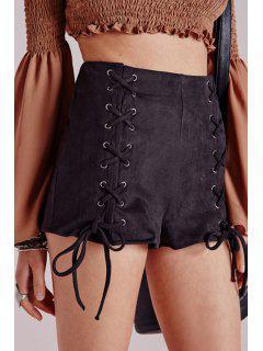 Short Noir à Lacets à Taille Haute  - Noir L
