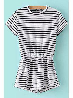 Jewel Neck Stripe Elastic Waist Romper - White And Black L