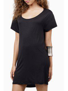 Pure Color Backless Short Sleeve Dress - Black S