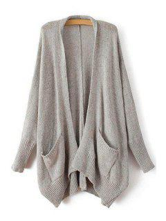 Asymmetrical Pocket Long Sleeve Cardigan - Gray