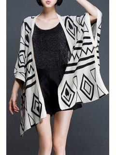 Geometric Pattern Collarless Cardigan - Off-white