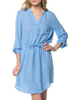 Pure Color V Neck Long Sleeve Dress - Light Blue M