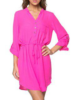 Pure Color V Neck Long Sleeve Dress - Pink M