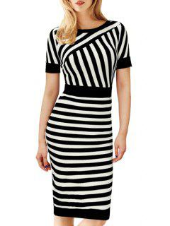 Stripes Spliced Short Sleeve Midi Dress - White And Black Xl