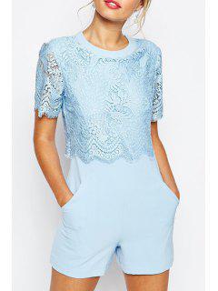 Lace Splicing Solid Color Short Sleeve Romper - Blue L