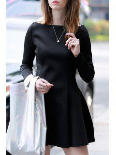 Black Slash Neck Long Sleeve A Line Dress - Black S