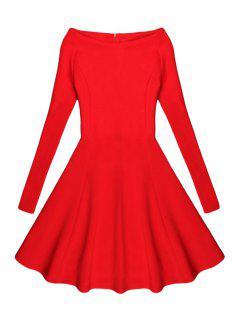Black Slash Neck Long Sleeve A Line Dress - Red L