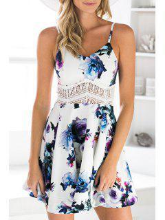 Waist Lace Splicing Floral Print Sleeveless Dress - White L