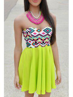 Geometric Print Spliced Strapless Dress - Green Xl