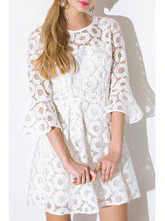 See-Through Tiny Floral Lace Half Sleeve Dress - White M