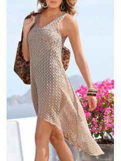 See-Through Irregular Hem Lace Dress - Apricot Xl