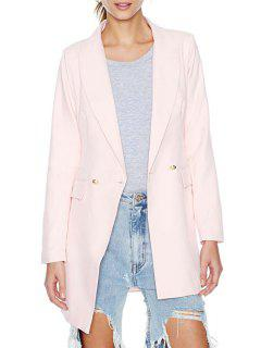 Shawl Collar Solid Color Two Buttons Blazer - Pink L