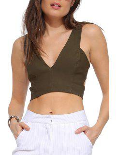 Solid Color Hollow Out Sleeveless Crop Top - Army Green L