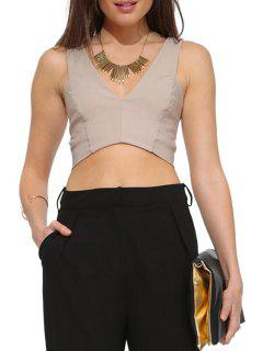 Solid Color Hollow Out Sleeveless Crop Top - Apricot Xl