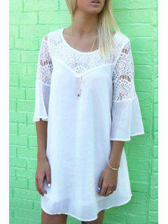 Openwork Lace Hook Chiffon Dress - White Xl