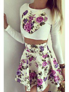 Long Sleeve Crop Top + Purple Floral Print Skirt Twinset - Purple Xl