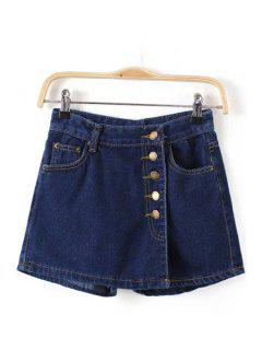 Single-Breasted Pocket Denim Culottes - Purplish Blue L