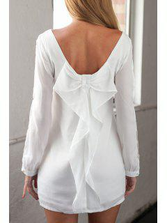 Long Sleeve Bowknot Cut Out White Dress - White Xl