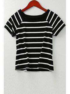 White Black Stripes Short Sleeve T-Shirt - Black S