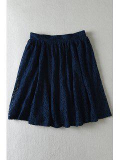 Floral Lace Multi-Layered Skirt - Cadetblue