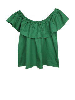 Flounce Spliced Slash Neck Blouse - Green L