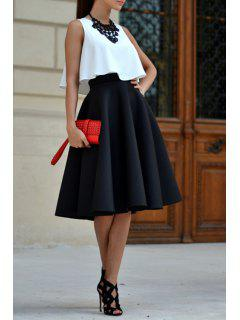 White Tank Top And Black A Line Skirt Suit - Black Xl