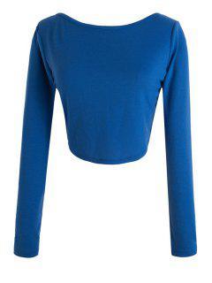 Long Sleeve Fitted Zipper Design Crop Top - Sapphire Blue Xl