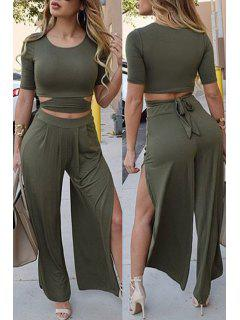Solid Color Short Sleeve Crop Top And Wide Leg Pants Suit - Blackish Green L
